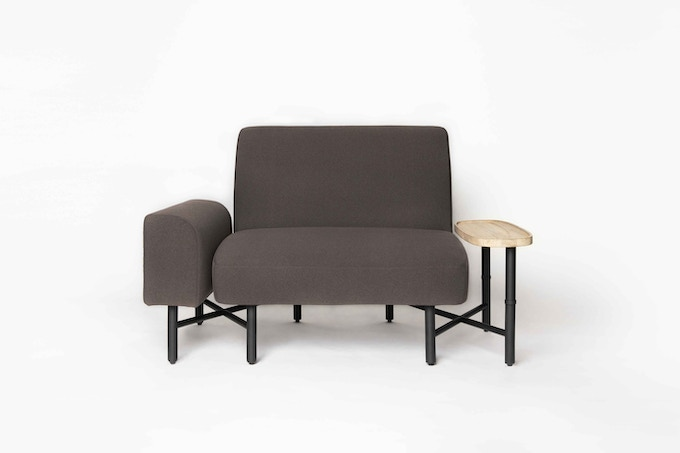 Castella 1.5-seater in Mocha, with armrest and side table