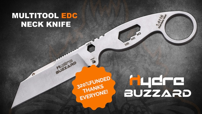 Buzzard is a multitool EDC neck knife designed by Hydra, a new born knife-maker from Spain. Buzzard is your tool for your everyday