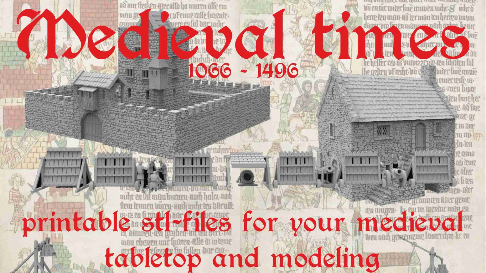 Medieval, 3d printable terrain for tabletop and modeling