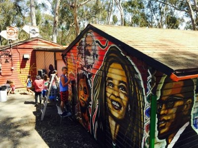 Students painting a mural of historic community activists in San Diego.