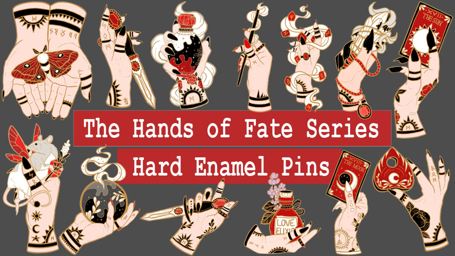 Hands of Fate Hard Enamel Pins by Ilinca Mitchell » Pin Club OPEN on