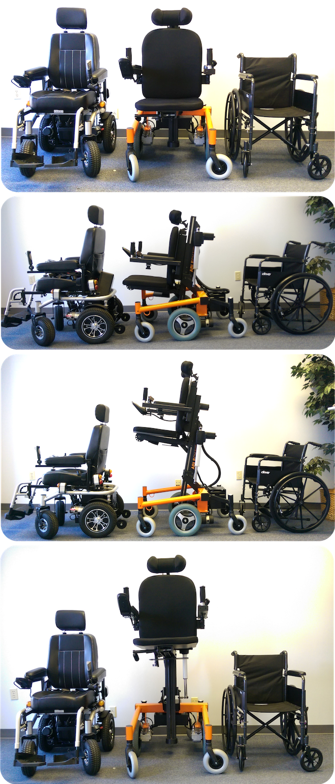 Size comparison with conventional wheelchairs
