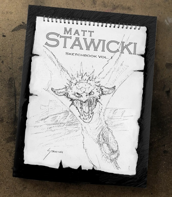 This is an actual photo of a printed copy of the sketchbook.