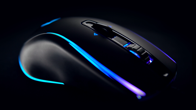 A little picture to show you the work done on design and lighting! We used a soft touch coating. This one isn't 3D rendered it's a picture of our mouse.