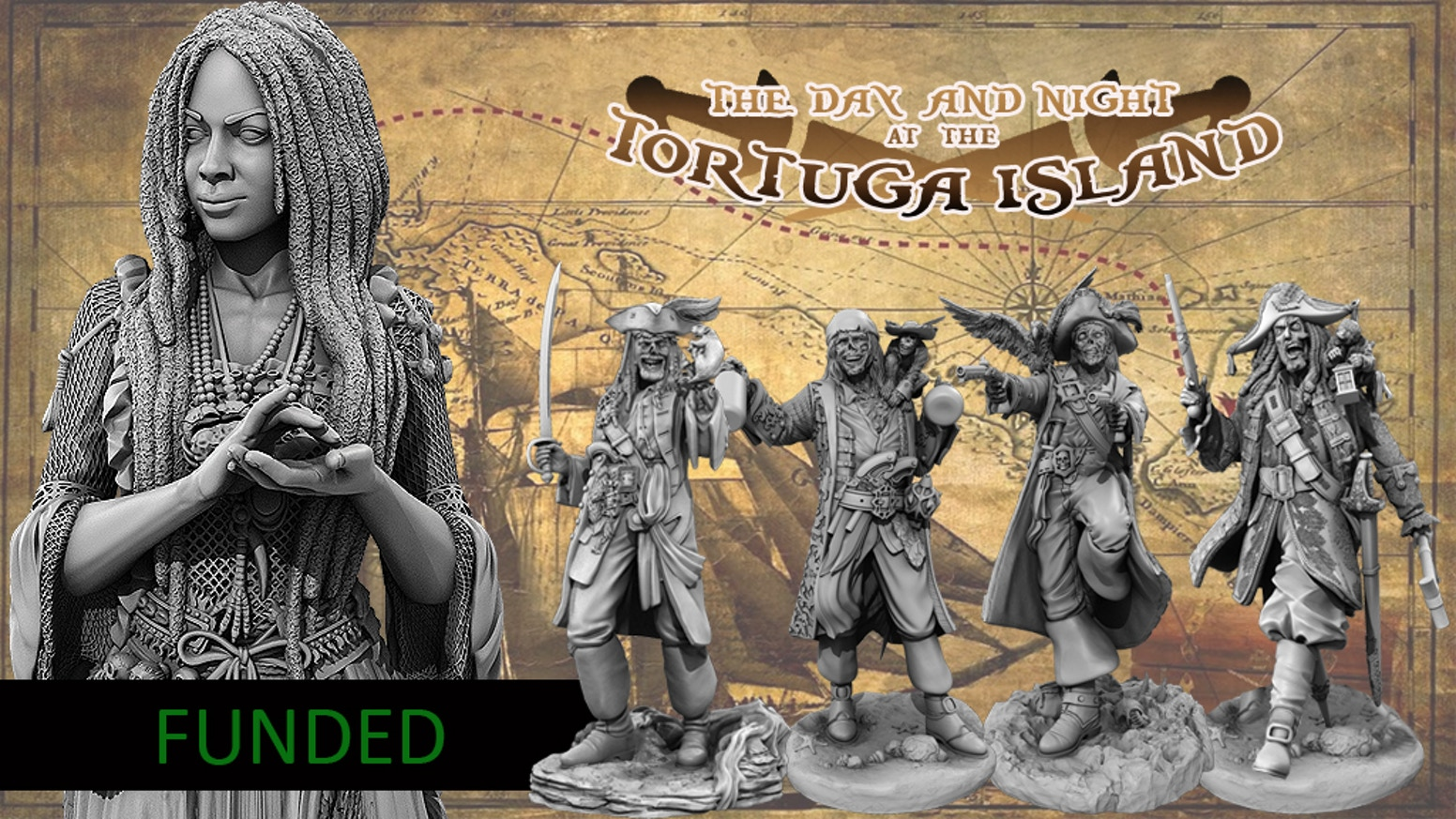The Day & Night at Tortuga Island, 75mm Resin Figures by 9th Gate