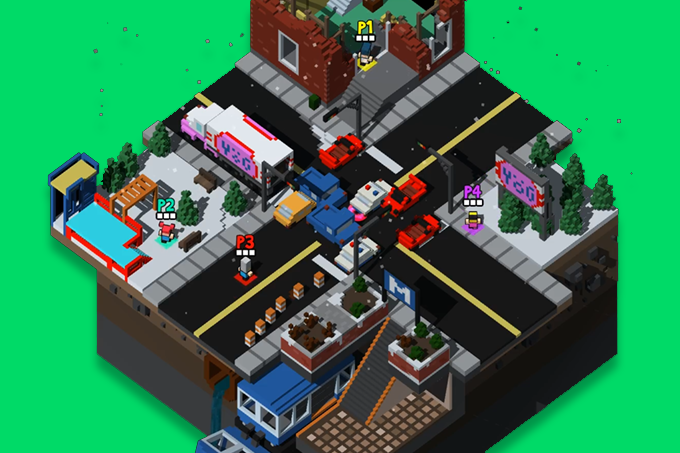 The city level is smaller and more colorful. Its layout is perfect for survival based modes.