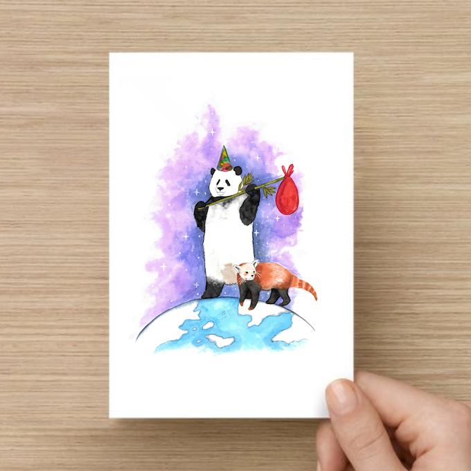 """The Fool"" Panda Postcard Print (Mockup)"