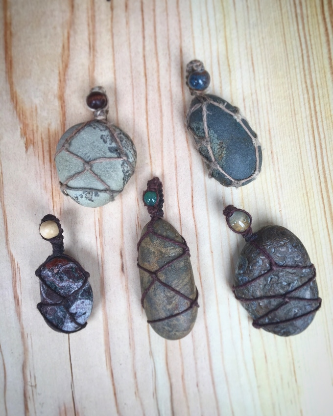 EarthTone Pendants (Rocks I've found in my travels that I've hand wrapped with hemp!)