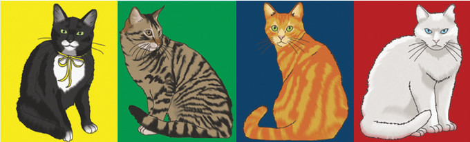 The Cast of the board game Cat Capers (art also by Jade!)