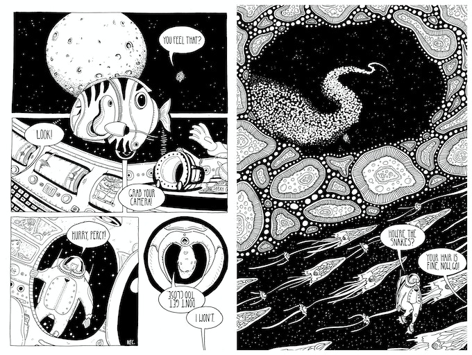 "Sample pages from ""Your Everlasting Gaze"" by Ryan King & Johnny Herber"