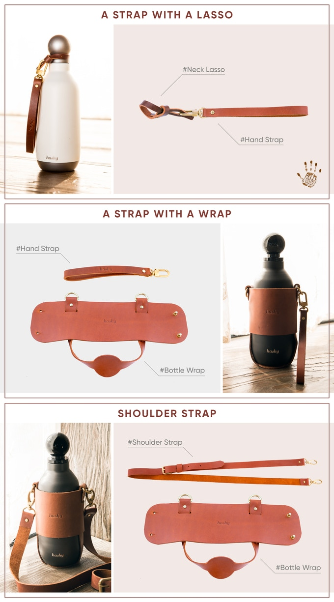 The Bottle Wrap and Shoulder strap are made of regular oil pulll-up leather.