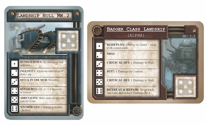 An example of a Landship Card and an Enemy Card. The player will have a Hull of their choice (+ a Cannon and Support choice such as Shock Troops or Sponson), whereas there will be 9 independent enemies.