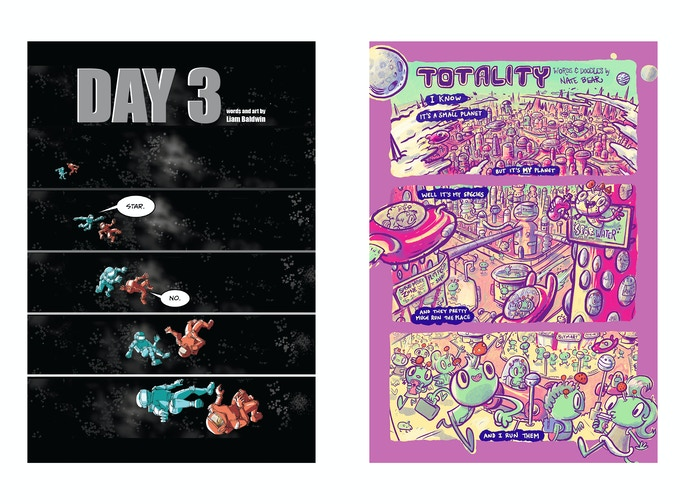 "Left: ""DAY 3"" by Liam Baldwin /// Right: ""Totality"" by Nate Bear"