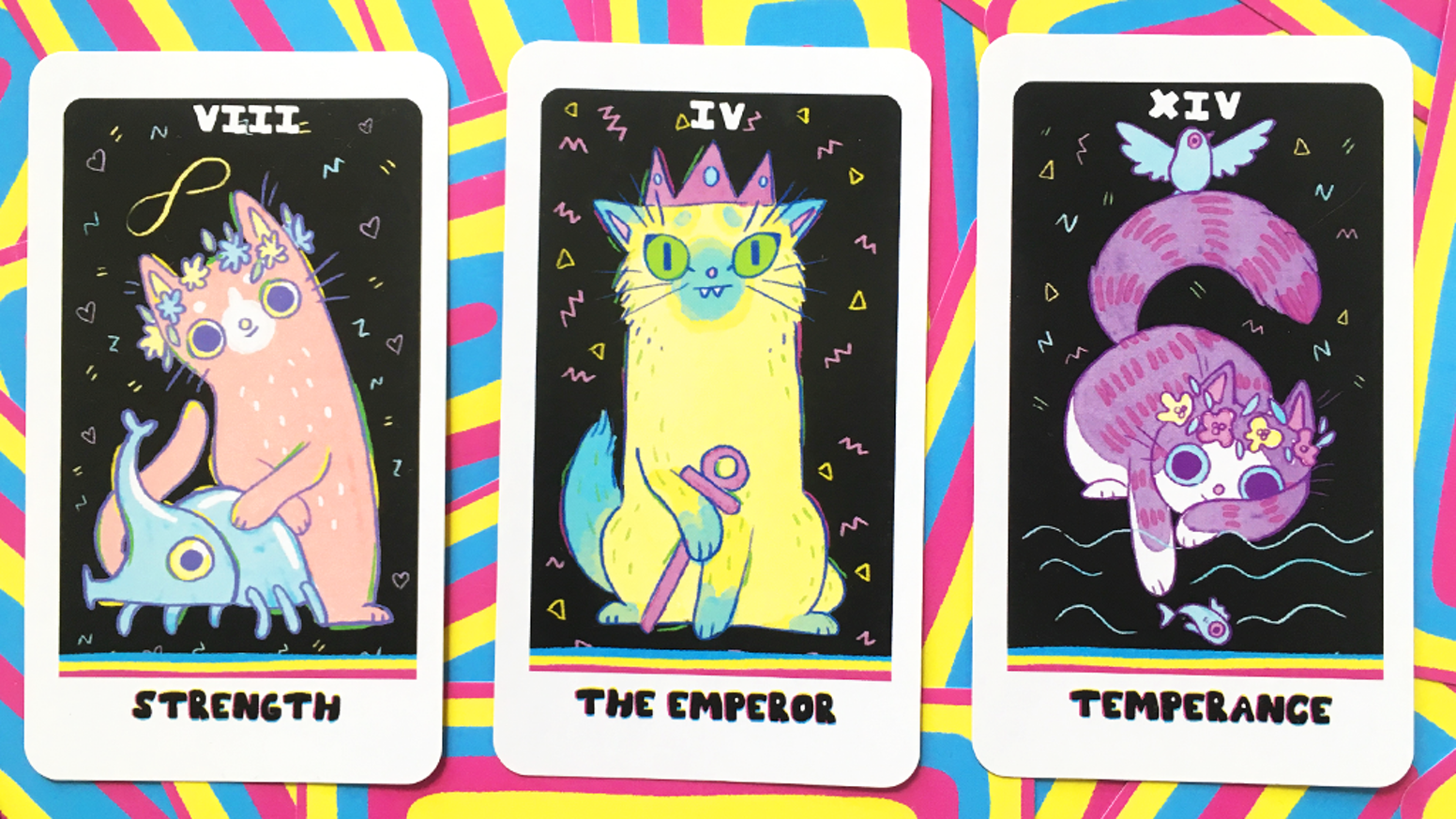 A colorful tarot deck inspired by my favorite things. Cats!