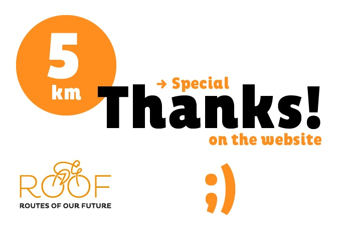 With 5 euros you will support 5 of our 8.000 km route.