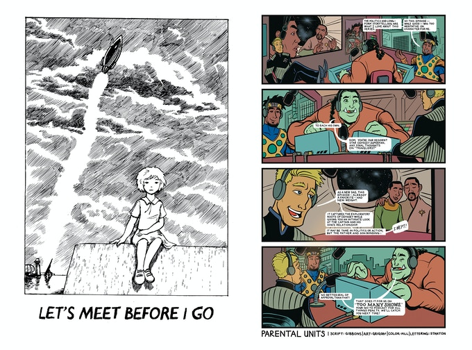 "Left: ""LET'S MEET BEFORE I GO"" by Will Quinn & Yi Bin Liang /// Right: ""PARENTAL UNITS"" by Jim Gibbons, Matt Grigsby & Ryan Hill (With letting by Kevin Jay Stanton)"