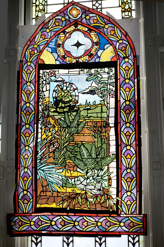 This is the first stained glass we made. It took us about to months two complete it. A learning process.