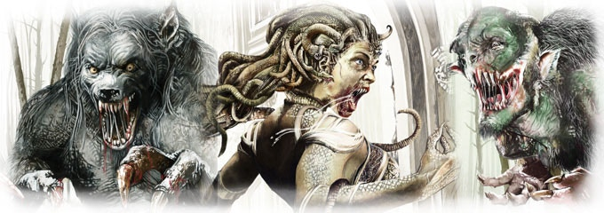 Card art for Big Bad Wolf, Medusa, Troll
