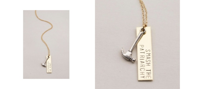 "$150 Reward Level - ""Smash the Patriarchy"" Hand-Stamped necklace! - Follow at @bangupbetty · Website - bangupbetty.com"