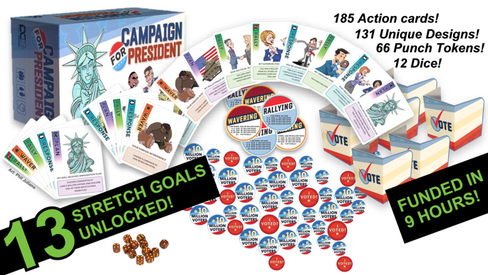 A political battle for voters to become the next President of the United States. 3 to 6 players. Playtime: 30 minutes. Ages 8 & up.