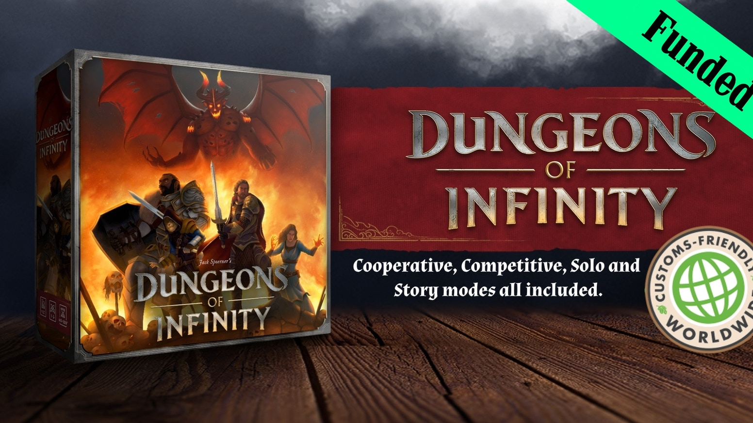 Dungeon of Infinity is a board game for 1 to 5 players. It features random dungeon creation, solo, coop, competitive or story mode!