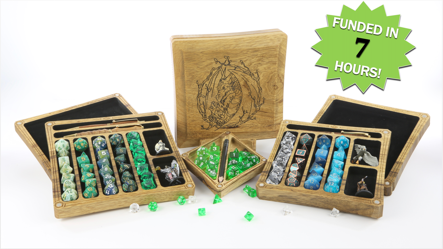 Masterfully crafted, custom engraved dice boxes with integral rolling tray designed to enhance your tabletop gaming experience.
