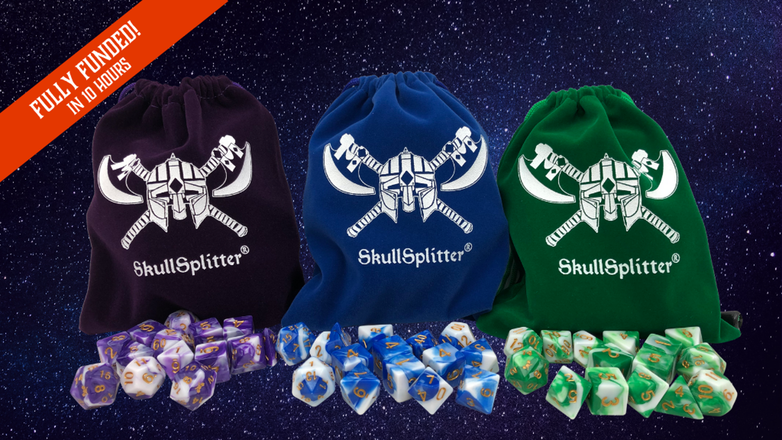 Swirled Polyhedral 11 piece dice sets for RPGs and other tabletop games.