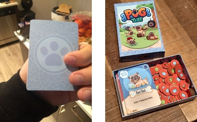 The back of the cards and the inside of the box!