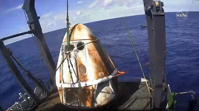 Figure 14 - Crew Dragon is on SpaceX's recovery vessel March 2019.