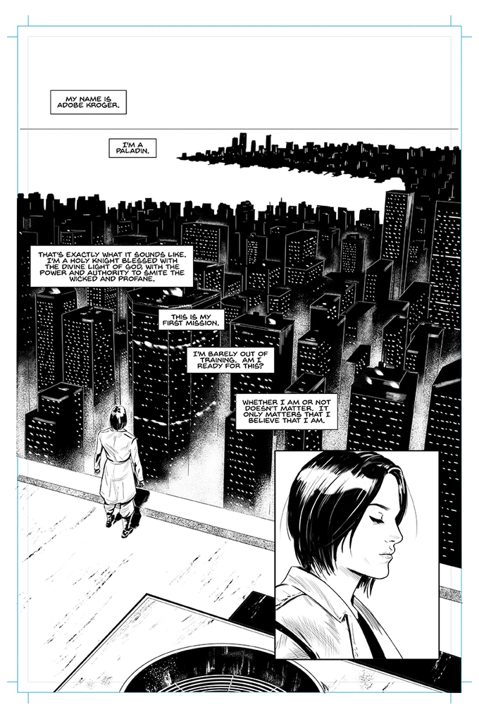 Page 1 of Adobe Kroger - Dame Commander.  Written by Dan Sacharow, Art by Leandro Panganiban, Letters by Eric Weathers.