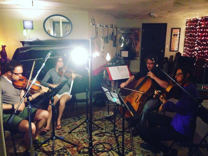 (The Front Range Strings recording Water Wings at Elephant Collective Studio)