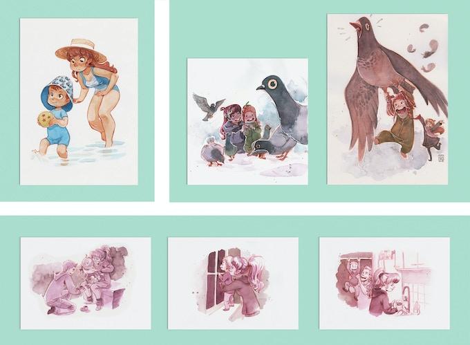 Top left: 'Swimming pool' - 147mm x 210mm. Top right: 'Pigeons!' (set of 2) Print 1: 145 mm x 210 mm, Print 2: 165mm x  210mm. Above: 'Life as a Parent' (set of 3) -  Print 1: 210 x 147mm, Print 2 & 3: 227mm x 150mm