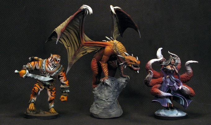 All miniatures painted by Shattered Skull Studio. Note: All example miniatures are 3D printed and are lower quality than the injection-molded, final-product miniatures will be.