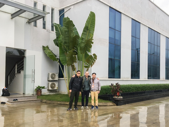 Joseph, myself and Mr Tien (our manufacturing partner) outside our WRAP certified factory in Vietnam, after a productive meeting!