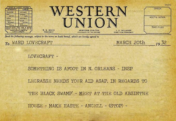 Telegram from G.G. Angell to Detective Ward Lovecraft