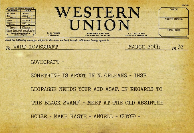 Telegram from G.G. Angell to Detective Ward Lovecraft