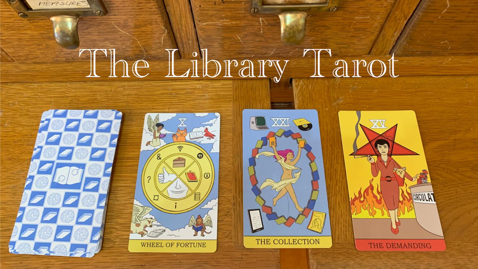 A set of fun, library-themed Major Arcana cards based on the Rider-Waite-Smith Tarot Deck.
