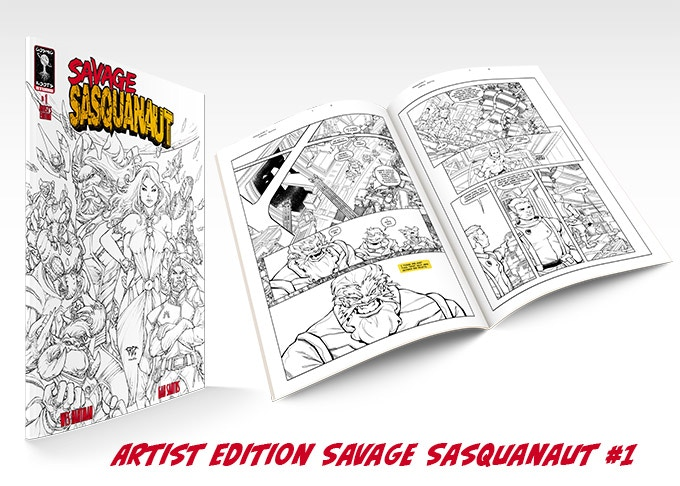 Own the story as artist Gab Santos drew it in glorious black and white line art with the exclusive ARTIST EDITION
