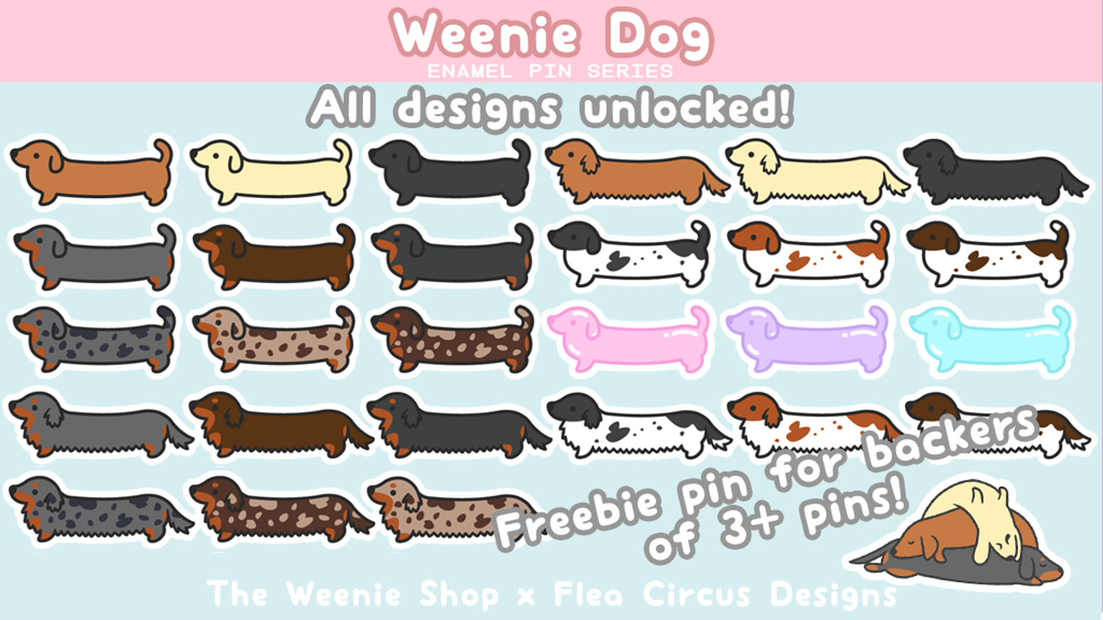 Weenie dog enamel pins - now with more designs! A dachshund for everyone~