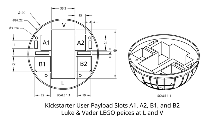 Figure 10 - Payload dimensions and locations. Click image to see open source CAD drawing.