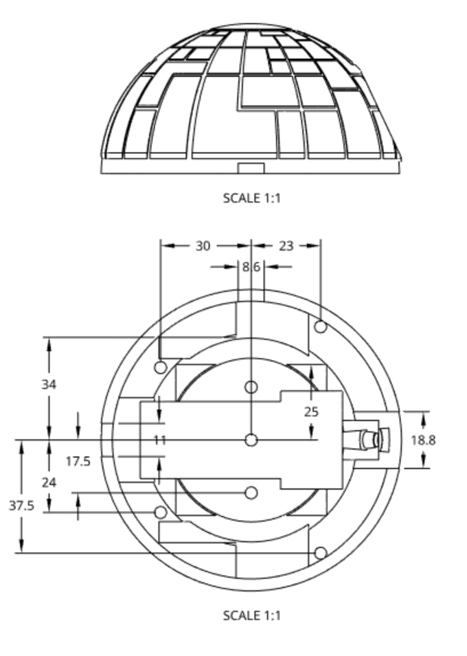 Figure 12 - Mounting slots for both 0.150 & 8 Watt LASER's, 10 Physical Name in Space PCB's and 7 bolts.