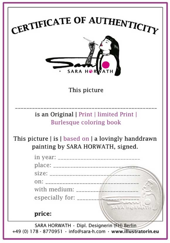 Every print and painting has an Certificate of Authenticity, signed by Artist