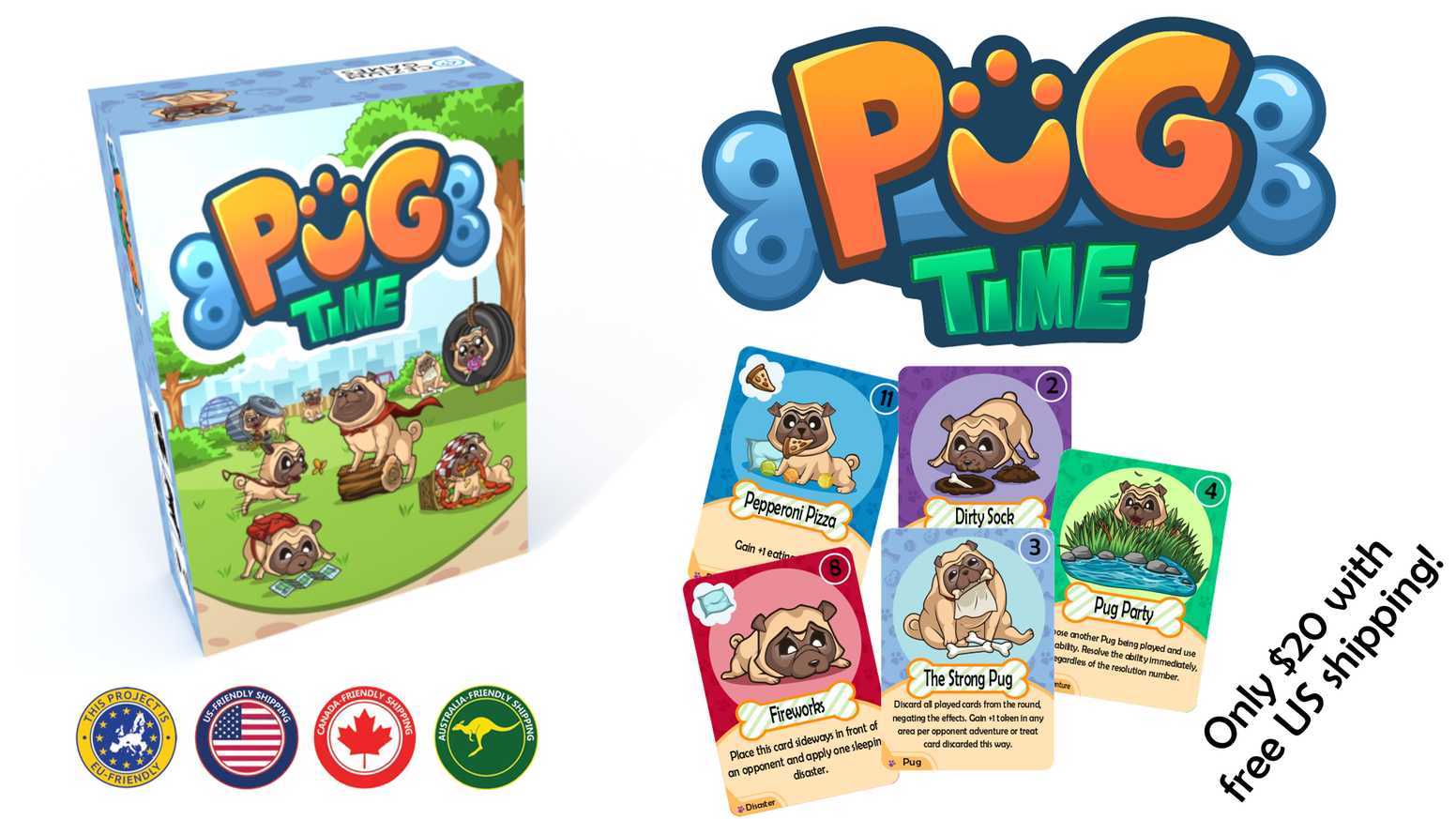 A card game where you partner with a unique pug to help them become as happy as possible!