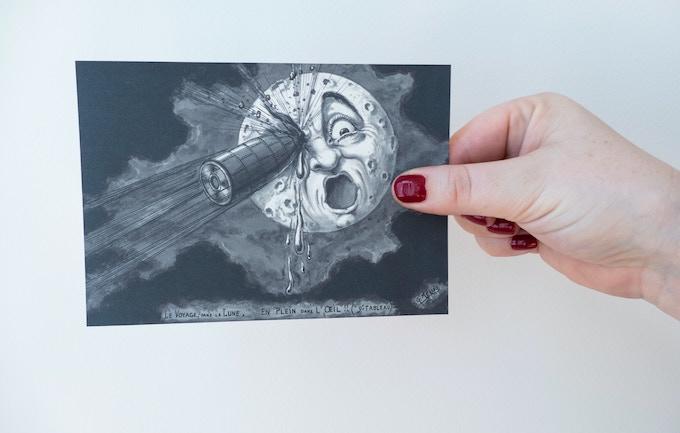 "Drawing postcard ""Voyage dans la lune"""