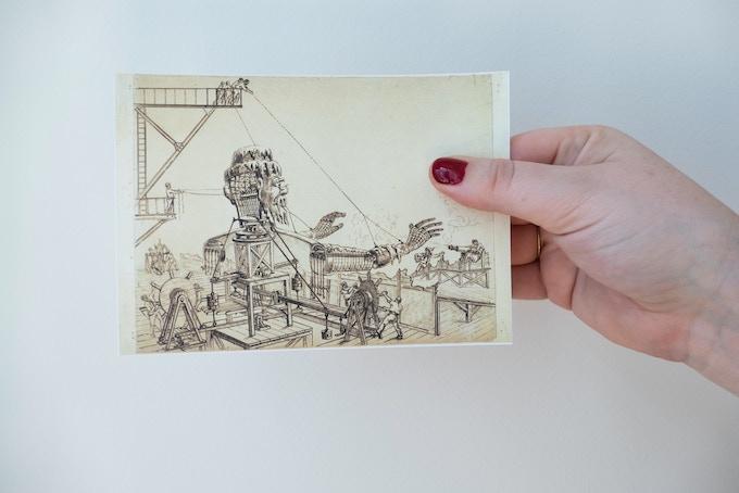 """Drawing postcard """"La conquête du pôle"""""""