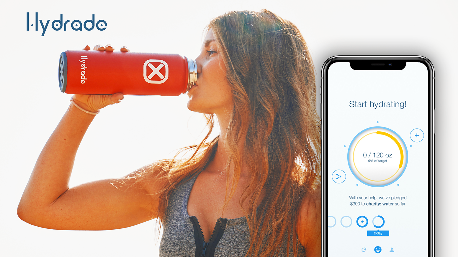 Hydrade's smart solar-powered insulated bottle recommends hydration levels, monitors intake, & donates to charity based on your intake.
