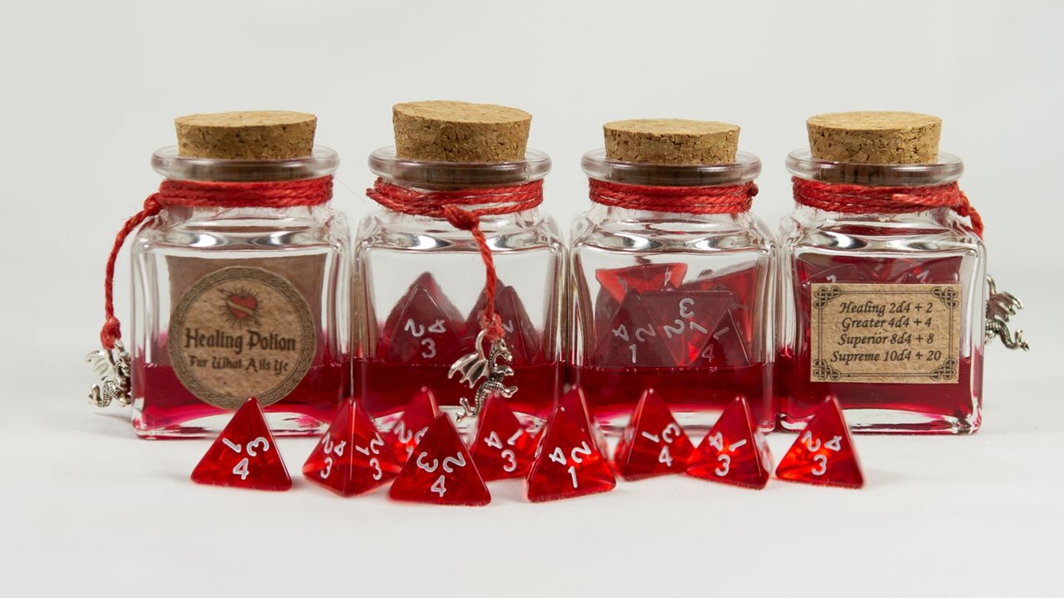 Fun Enhancing, Versatile, Beautiful, Healing Potion Dice Bottles that wont roll off the table (built for D&D 5e).
