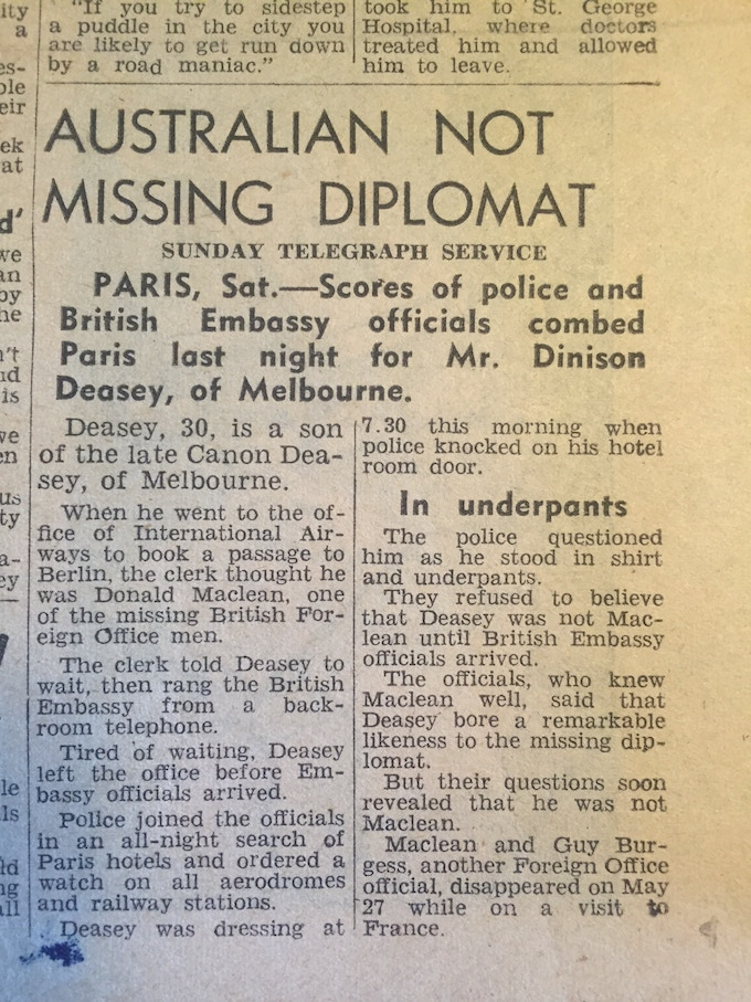 A newspaper report on my father's mistaken arrest at the Hotel Floridor when Donald Maclean had gone missing in Paris