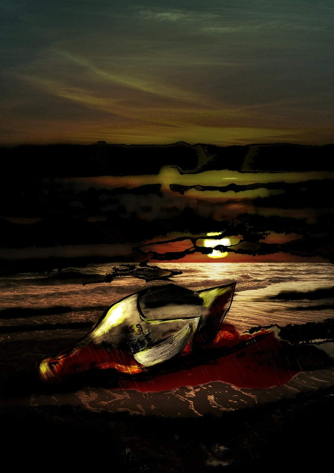 Blood Red Sea Postcard