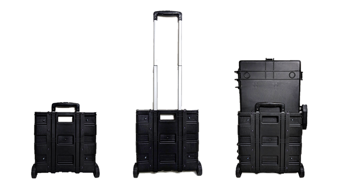 Extending handle and wheels easily fits to back of case
